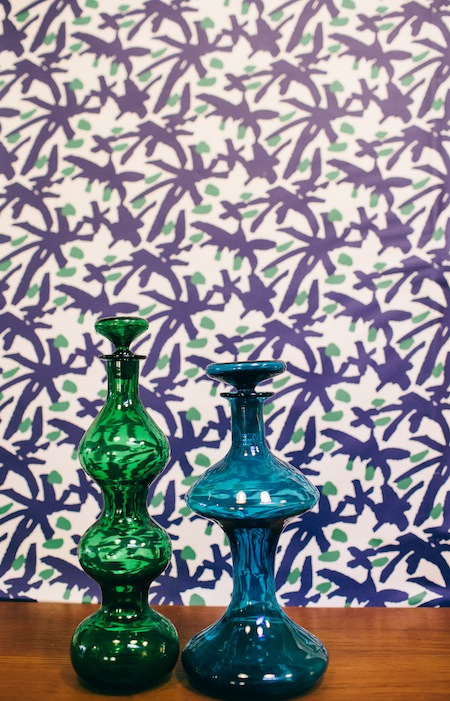 AphroChic Juju Blue and Green Wallpaper Vignette_Ted Nghiem