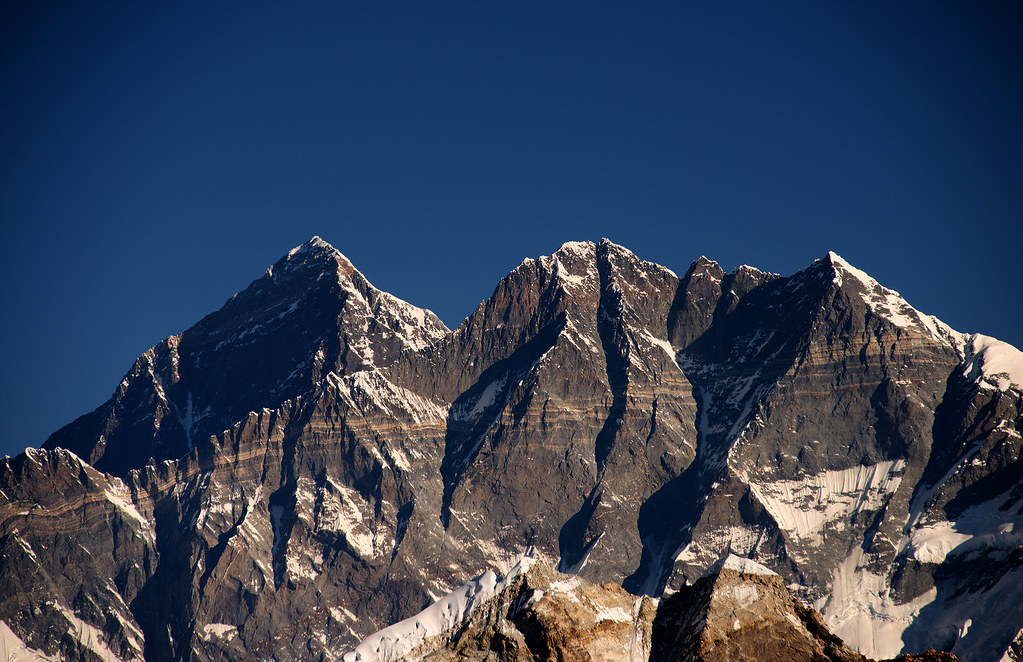 Everest and Lhotse after Sunrise, Mera Peak