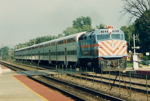 Westbound Metra local commuter train.  Elmhurst Illinois.  August 1988. by Eddie from Chicago