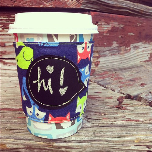 Foxes reusable coffee sleeve. $8.00, includes shipping. {chalkboard fabric speech bubble} Leave your PayPal addy to claim.