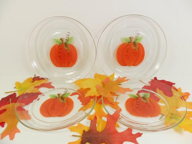 Pumpkin Dessert Appetizer Plates 7 Hand Painted Set Of 4