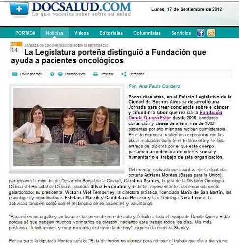 Nota en DocSalud 17 septiembre de 2012 por declaracióon de interes social y humanitario de legislatura de ciudad de buenos aires