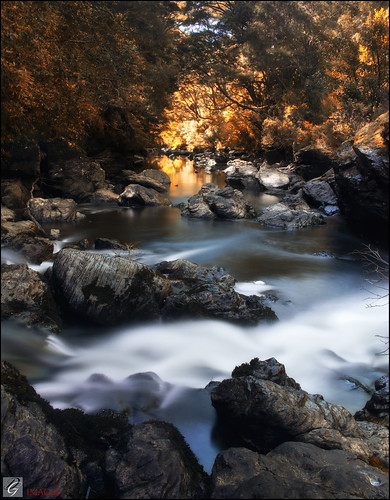 autumn river golden rocks long exposure rapids le nz otago waipori pommedan dgimages