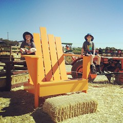 Big chair at the pumpkin patch.