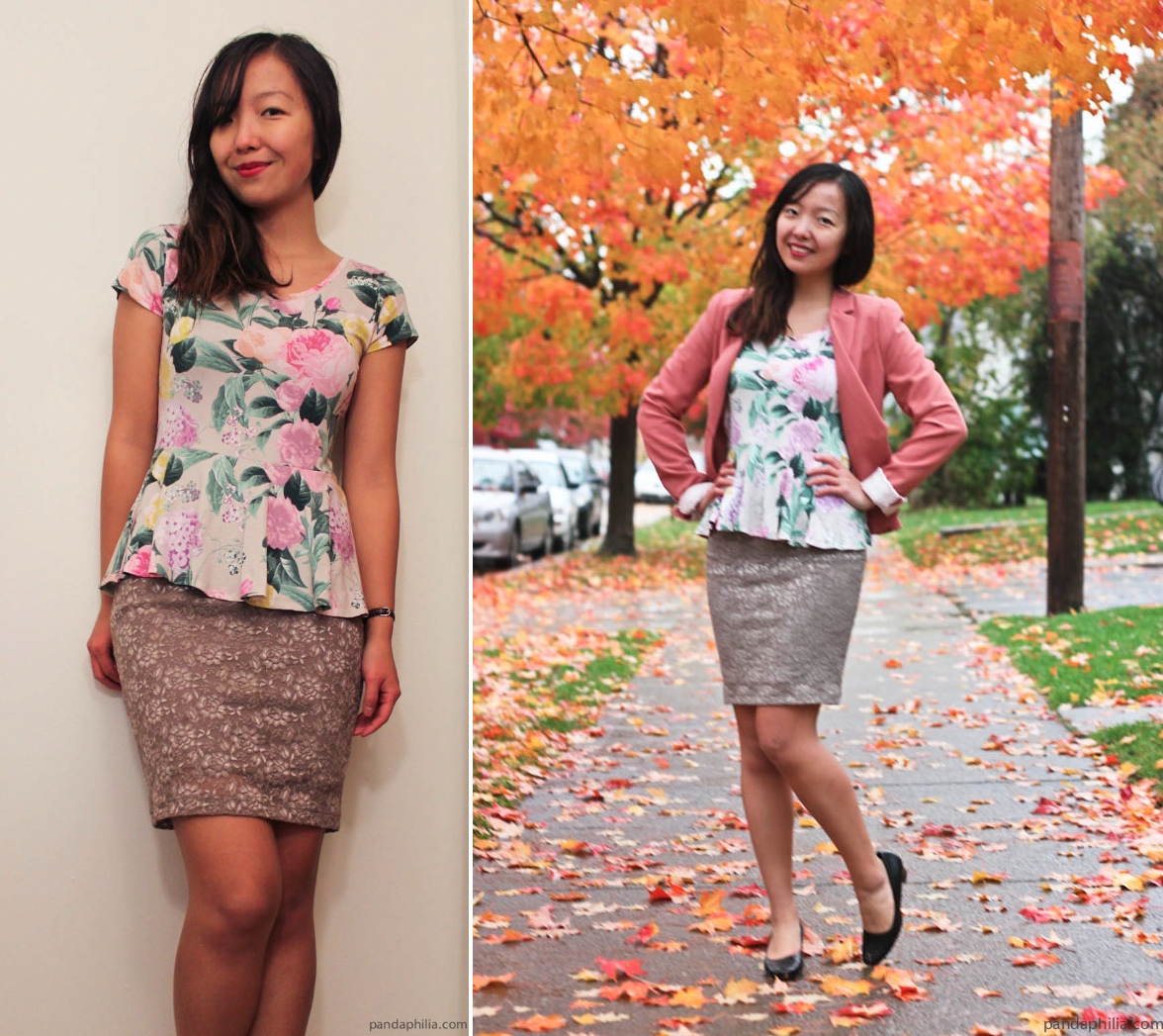 spring floral peplum top fall foliage