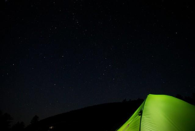 黒百合ヒュッテテント場からの星空