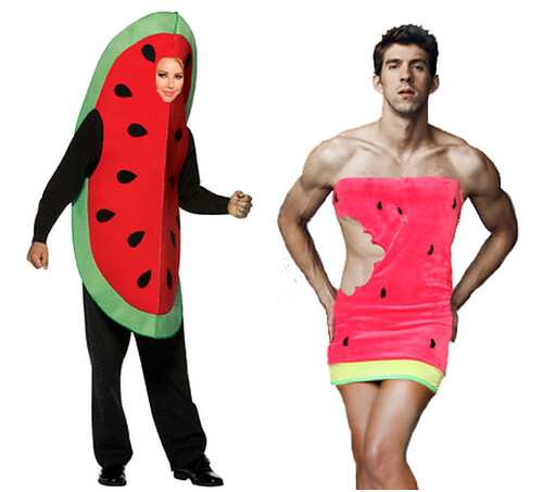 man in a watermelon dress, woman in a watermelon suit