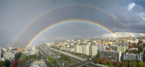 Seattle Double Rainbow Panorama 48/52