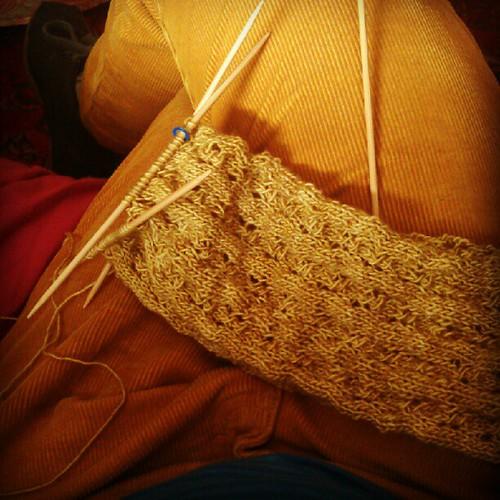 My pants match my knitting.