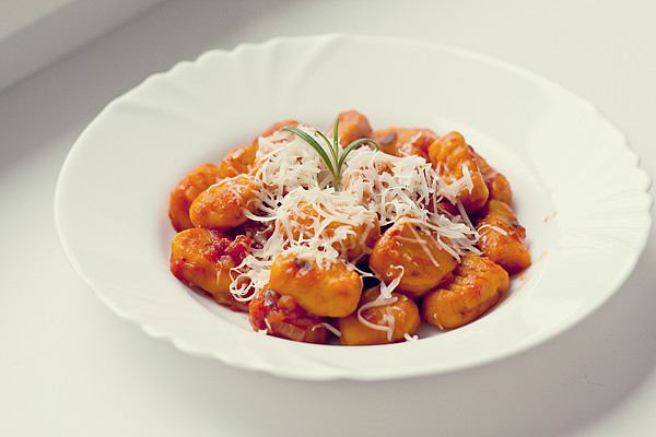 Pumpkin gnocchi with tomato sauce