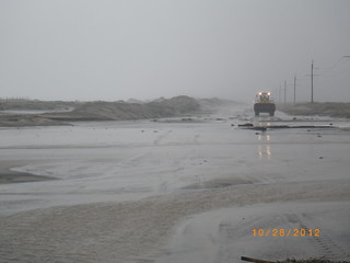 Flooding on N.C. 12 on Pea Island in Dare County