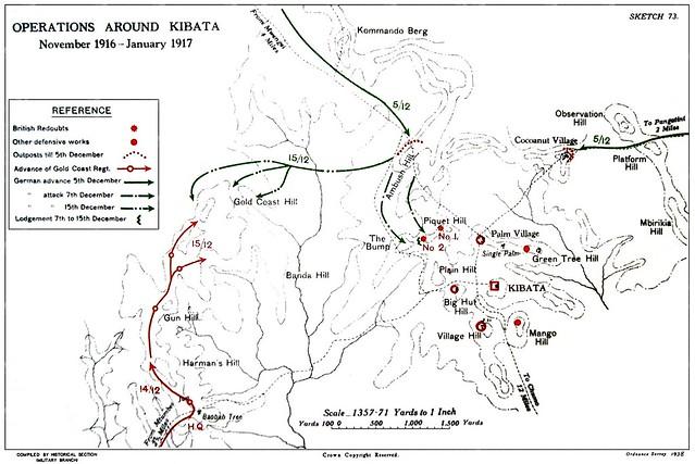 Map of the Kibata operations Nov 1916-Jan 1917