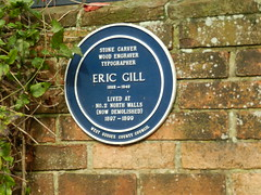 Photo of Eric Gill blue plaque
