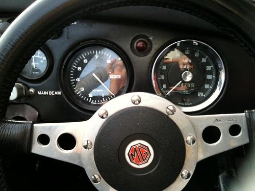MGA silver convertible
