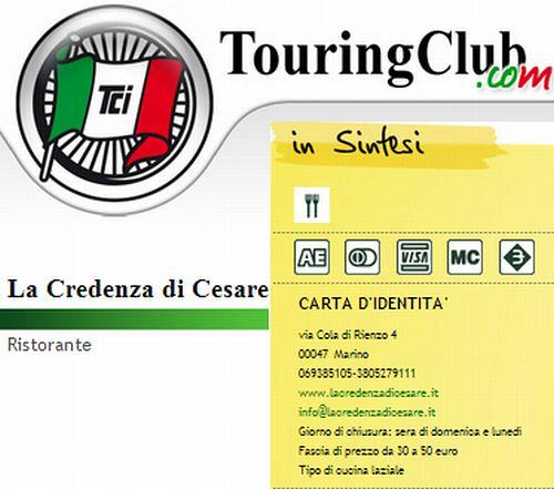 da http://www.touringclub.com/ristorante/lazio/roma/la-credenza.aspx