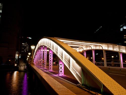 bridge light architecture night river lumix landscapes candle osaka nightview gf2
