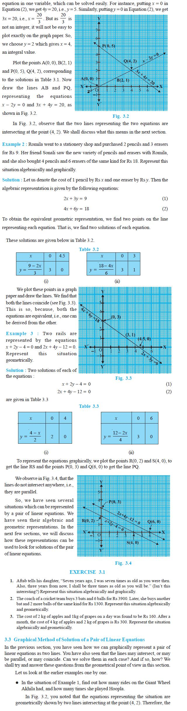 NCERT Class X Maths: Chapter 3 - Pair of Linear Quations in Two Veriables