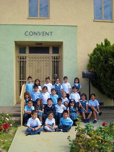 Some of the Kindergarten children outside the Nativity School Convent