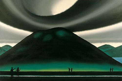 Roger Brown, Couple Progressing Towards Mount Rincon, 1997, Oil on canvas