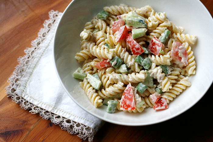 recipe, pasta salad, pasta, easy, veggies, salad, side dish, main