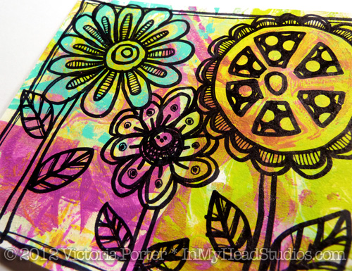 Flower Doodles on Gelli Print 2
