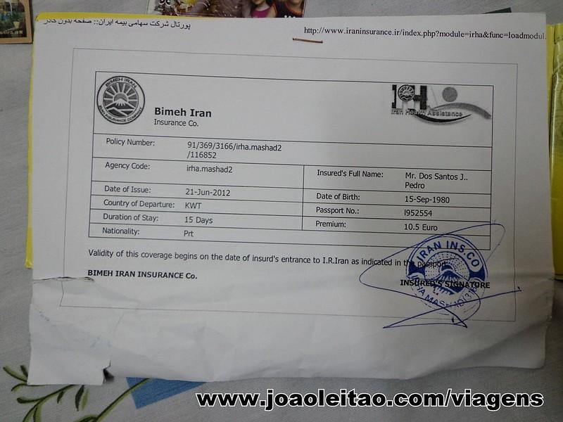 Seguro de Viagem para o Irão comprado no aeroporto de Mashhad