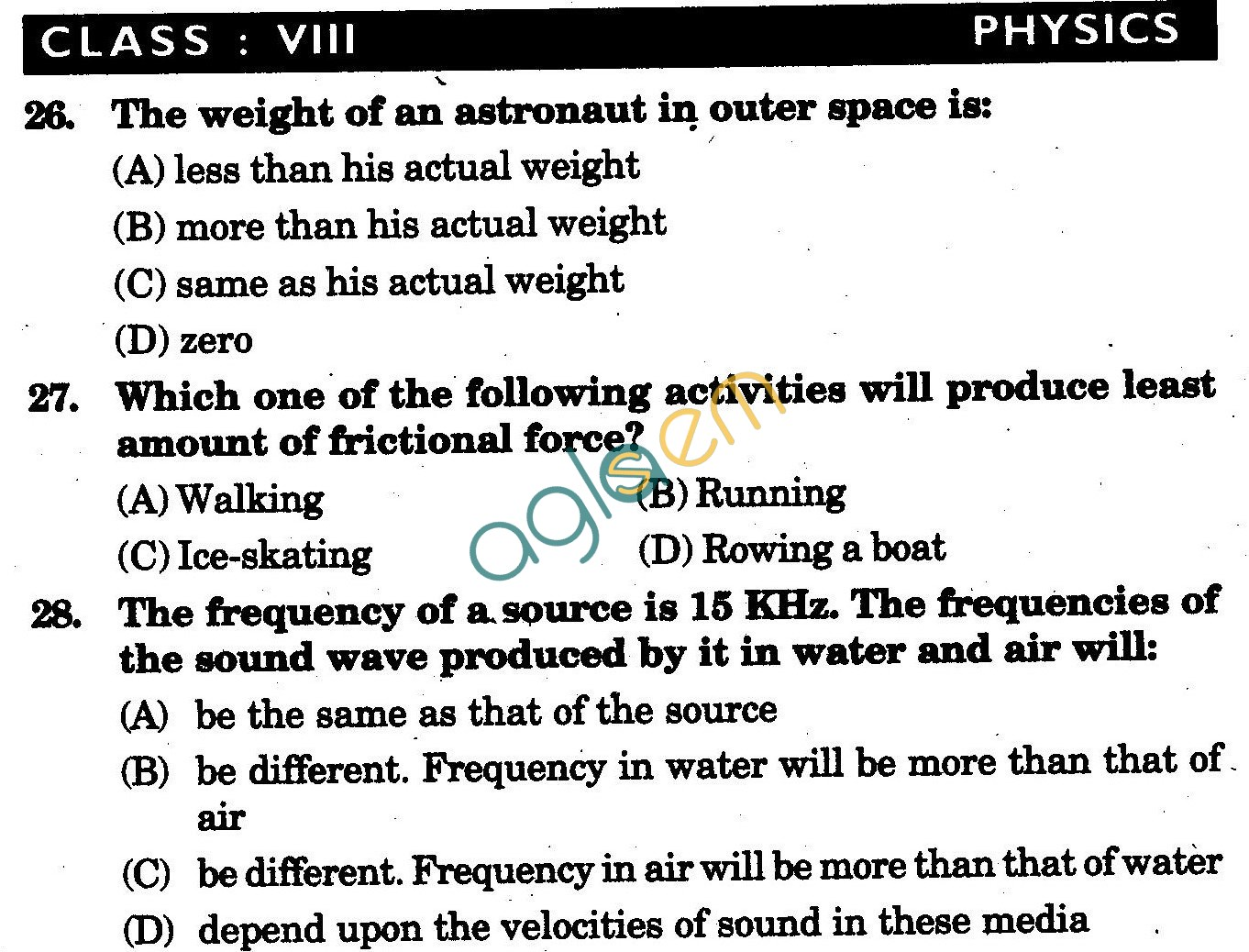 NSTSE 2009 Class VIII Question Paper with Answers - Physics