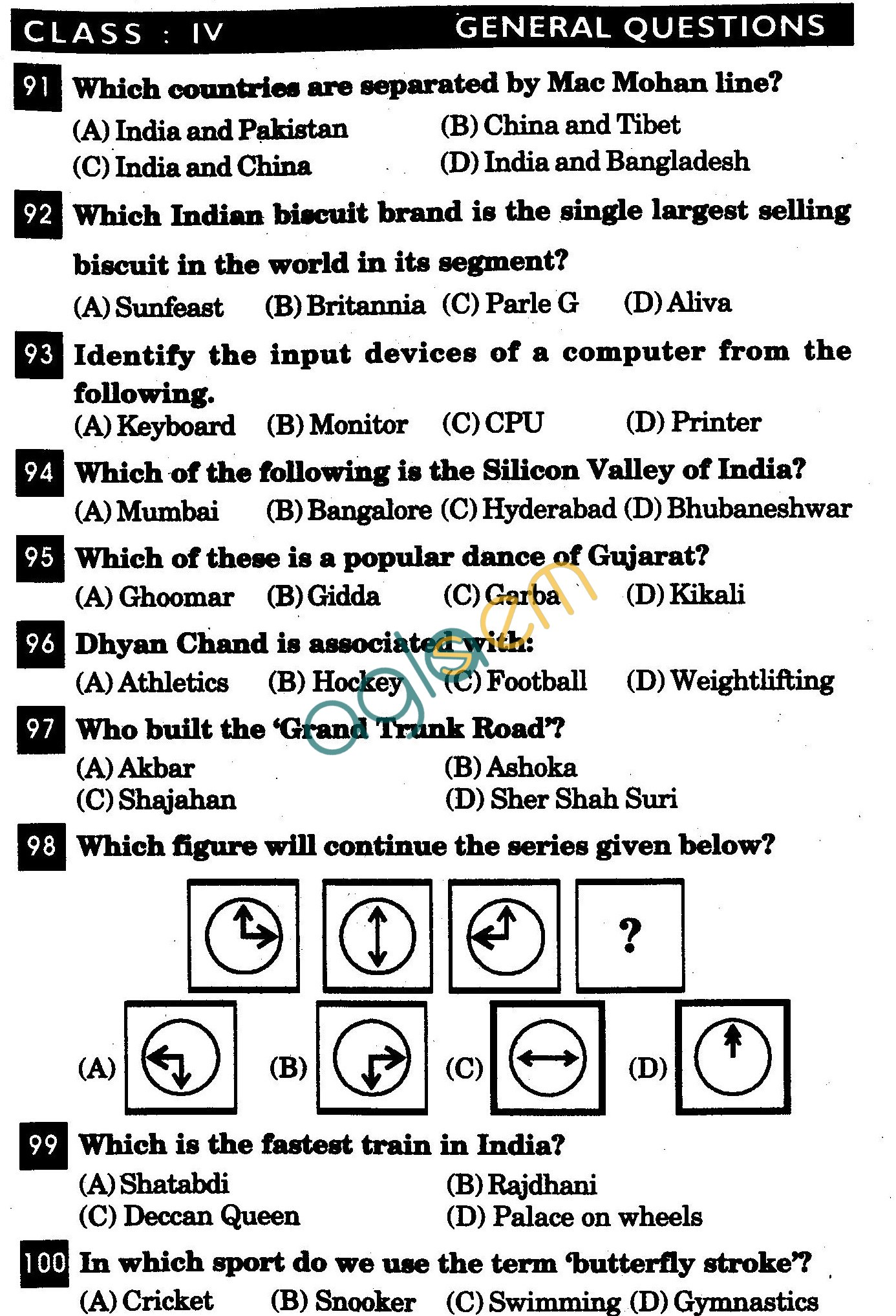 NSTSE 2011 Class IV Question Paper with Answers - General Knowledge
