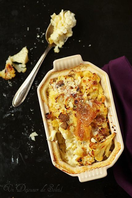 Gratin de pâtes aux trois fromages et chou-fleur - Cauliflower mac and cheese