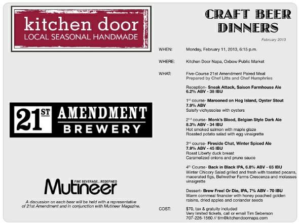 Kitchen Door 21st Amendment Craft Beer Dinner