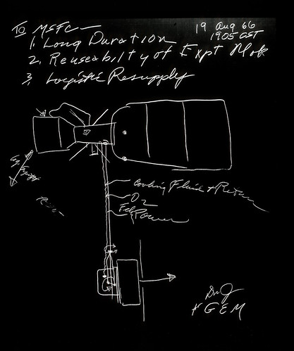 George Mueller Skylab Sketch  (NASA Archive, 08/19/66) by NASA's Marshall Space Flight Center