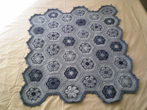 Completed baby flower hex blanket