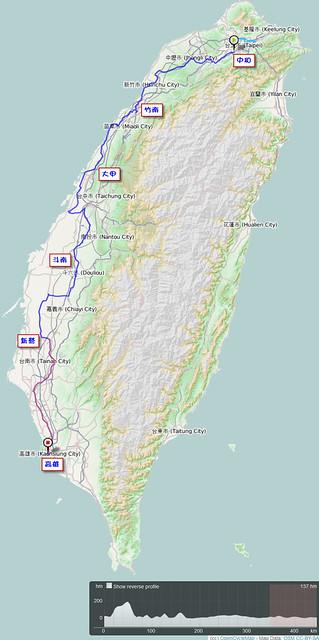 2011.10.09-13_單車環島_路線軌跡圖