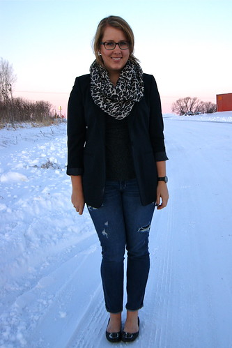 Oversized Blazer, Leopard Scarf, Distressed Denim 4