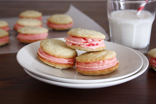 Vanilla Bean Sandwich Cookies with Maraschino Buttercream Frosting | girlversusdough.com @stephmwise
