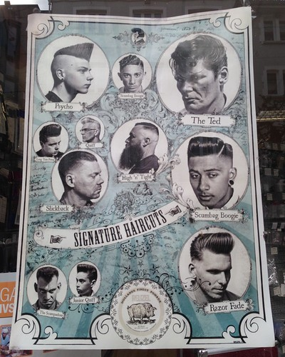 schaufenster shopwindow plakat poster haircut frisur haarschnitt mode fashion barber frisör