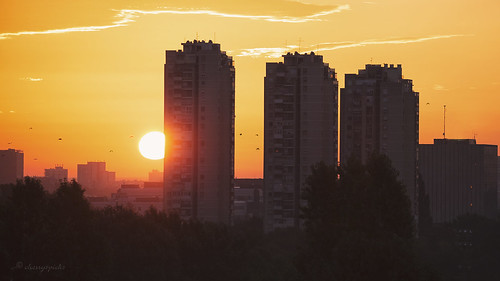 sunrise zagreb croatia birds sun orange yellow urbanlandscape architecture buildings early