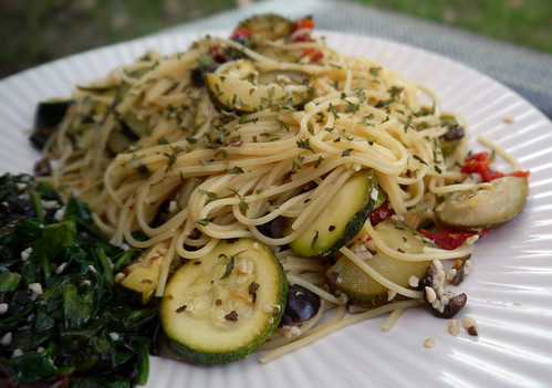 Spaghetti with Zucchini and Fresh Herbs, served with Garlicky Greens ...