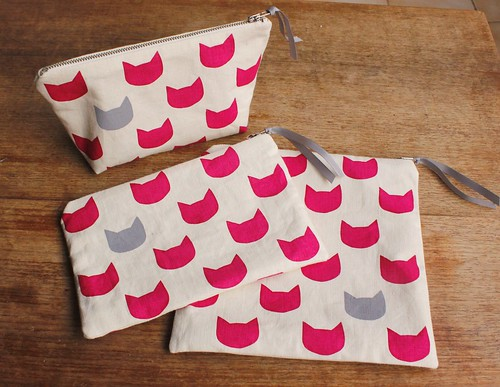 fuchsia cats grey pouches