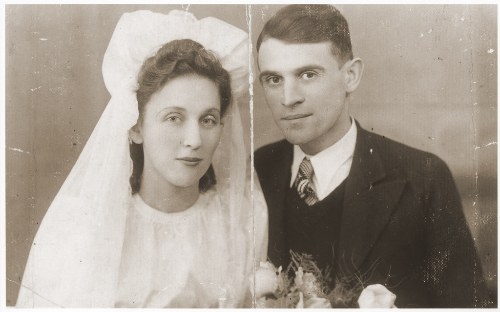 013---Wedding portrait of Gucia Brzeziner and Mendel-Ajzik Kleiner taken in the Lazy ghetto two years before they were killed at Auschwitz