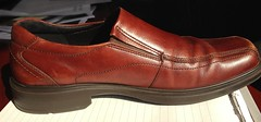 outdoor shoe(0.0), brown(1.0), footwear(1.0), shoe(1.0), maroon(1.0), leather(1.0), tan(1.0), slip-on shoe(1.0),