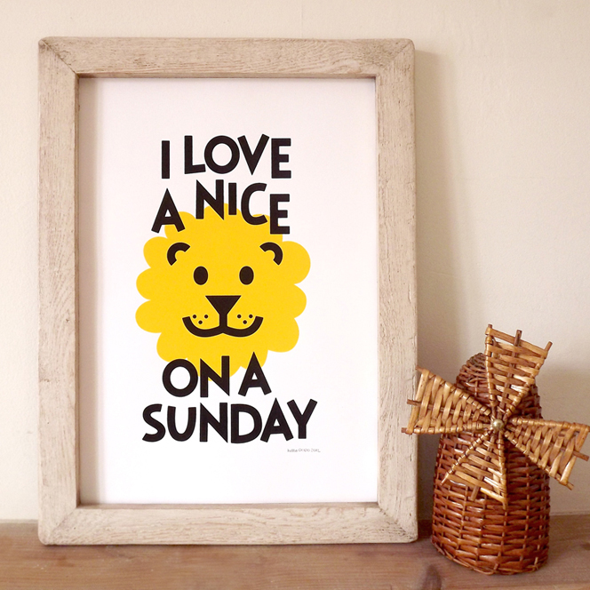 Lion_on_Sunday_hello_DODO_funny_Screenprint_handmade_happy_bedroom