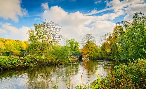 bridge autumn sunshine clouds reflections river landscape countryside drum lagan drumbridge drumbeg