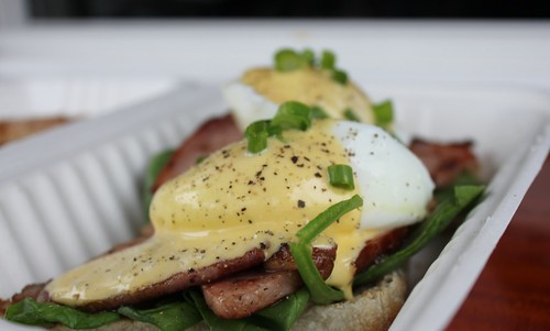 Hand Carved Honey Ham, poached free-range egg, Yolk's made Dijon, fresh spinach with real hollandaise
