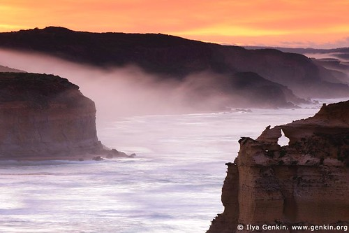 Early Morning Mist Flowing Down the Slopes at Twelve Apostles, Great Ocean Road, Port Campbell National Park, Victoria, Australia