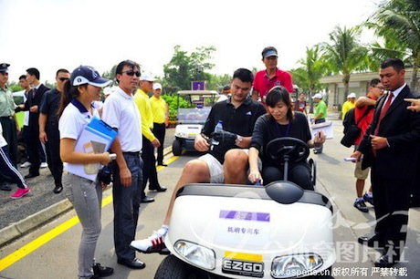October 19th, 2012 - Yao Ming sits in a special golf cart at the Mission Hills World Celebrity Pro-Am Golf Tournament held October 19 to 21st in Haikou, Hainan Island