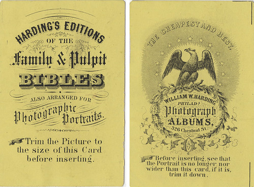 Two Sides of an Advertising Card for Harding Bibles and Albums by Photo_History