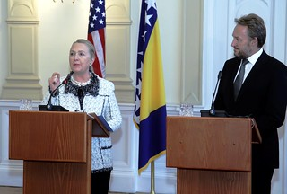 Secretary Clinton and Bosnian Presidency Chairman Izetbegovic Address Reporters