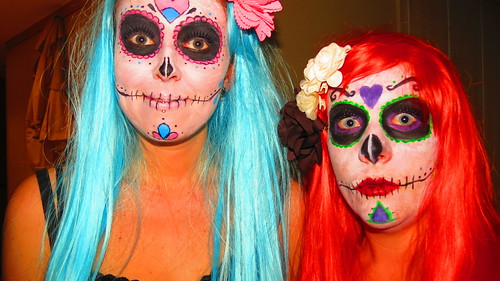 Sugar Skull Halloween Make Up with Eyeball