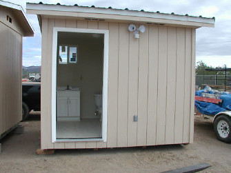 Modular bathrooms like these can be placed adjacent to homes in the Colonias, providing sanitation services that would otherwise not be available. USDA Photos